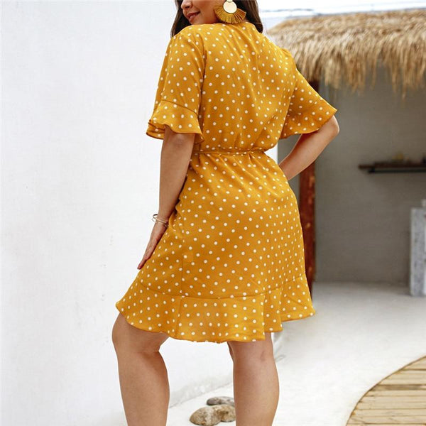 Women's Plus Size Summer Dress Polka Dot Boho Beach Holiday Casual Short Sleeve V-Neck Sundress Dress