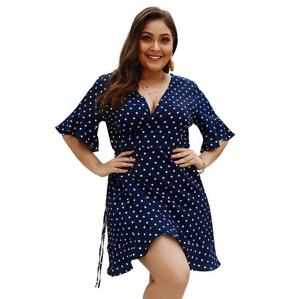 Women's Plus Size Summer Dress Polka Dot Boho Beach Holiday Casual Short Sleeve V-Neck Sundress Dress Navy Blue XL