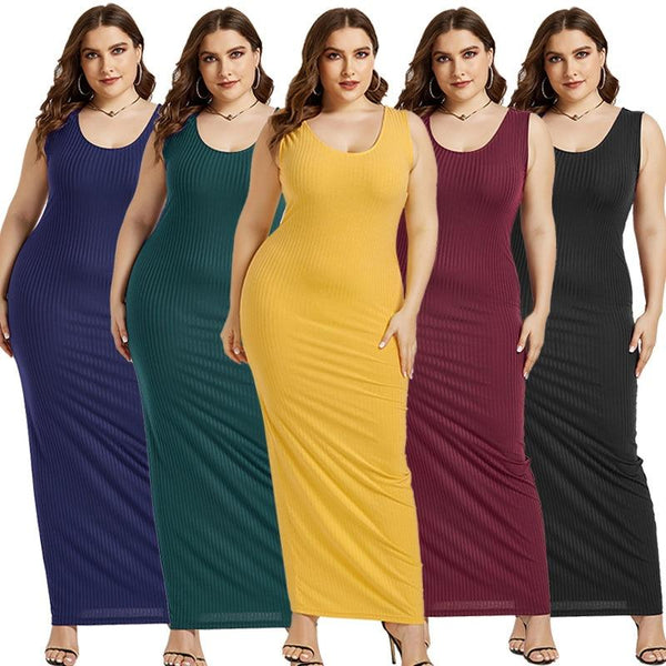 Women's Plus Size Summer Wear Dress Sexy U-Neck Solid Color Simple Sleeveless Dress
