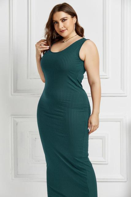 Women's Plus Size Summer Wear Dress Sexy U-Neck Solid Color Simple Sleeveless Dress Dark Green 5XL