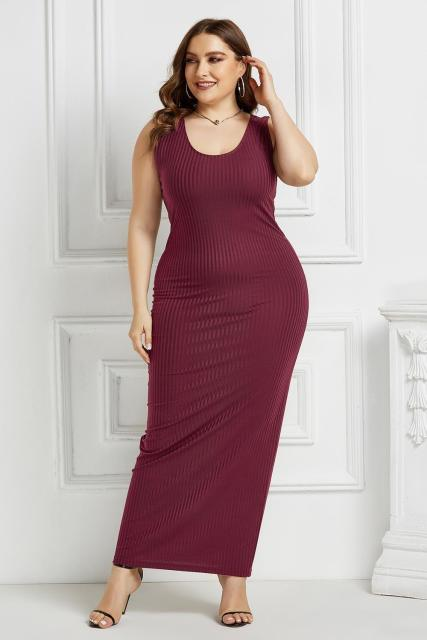 Women's Plus Size Summer Wear Dress Sexy U-Neck Solid Color Simple Sleeveless Dress Wine Red XXXL