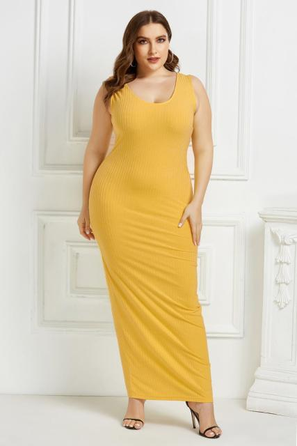Women's Plus Size Summer Wear Dress Sexy U-Neck Solid Color Simple Sleeveless Dress Yellow 5XL