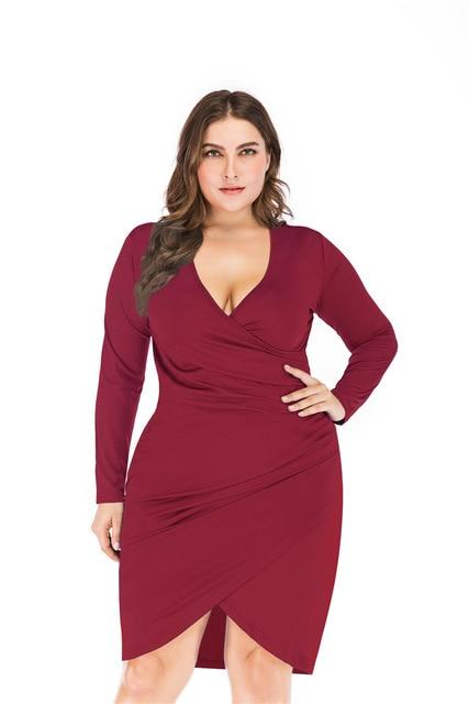 Women's Spring Party Sexy Dress for Fat Vintage Plus Size Deep V Neck Draped Tight Slim Elegant Midi Dress Dress Claret 5XL