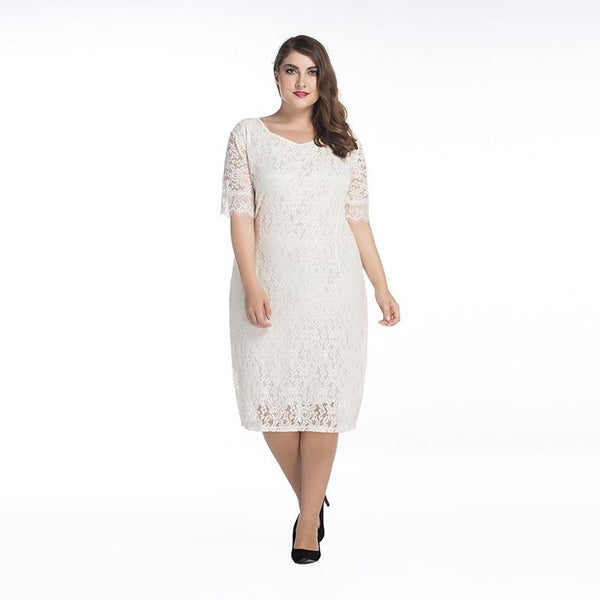Women's Summer Lace Dress O Neck Half Sleeve Plus Size Casual Elegant Club Party Wear Dress