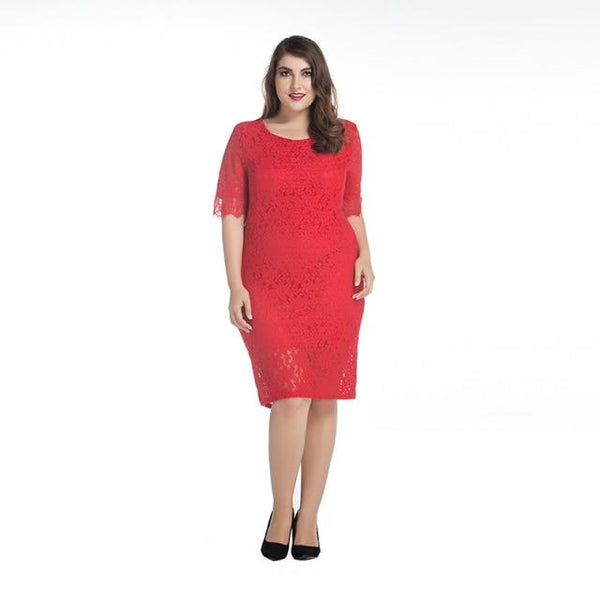 Women's Summer Lace Dress O Neck Half Sleeve Plus Size Casual Elegant Club Party Wear Dress red XL
