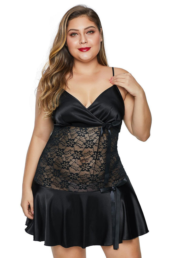 Wrapped V Neck Floral Lace Abdomen Plus Size Babydoll Plus Size Lingerie