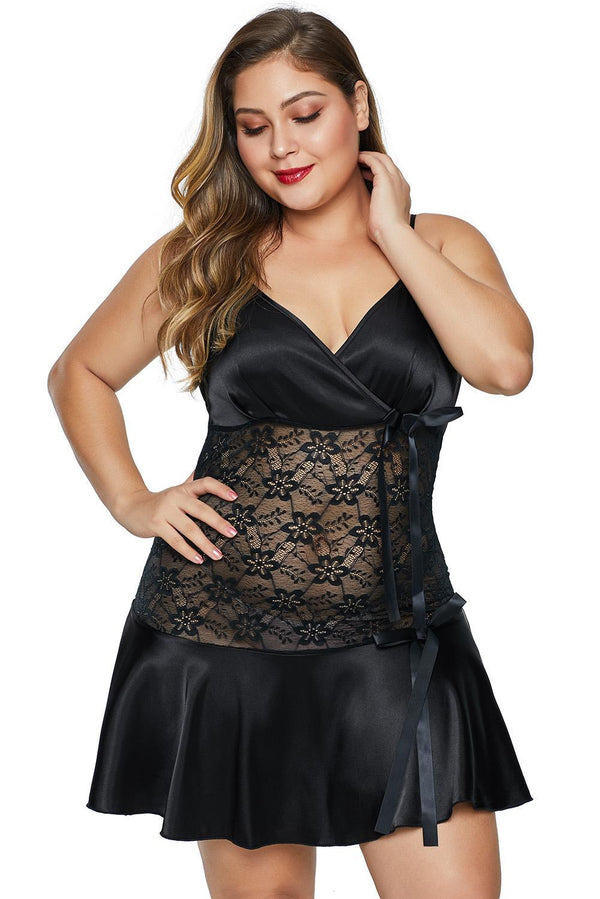 Wrapped V Neck Floral Lace Abdomen Plus Size Babydoll Plus Size Lingerie Black 1X