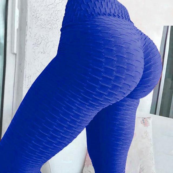 Yoga Pants Tummy Control Slimming Booty Leggings Workout Running Butt Lift Tights leggings Blue XL Far East