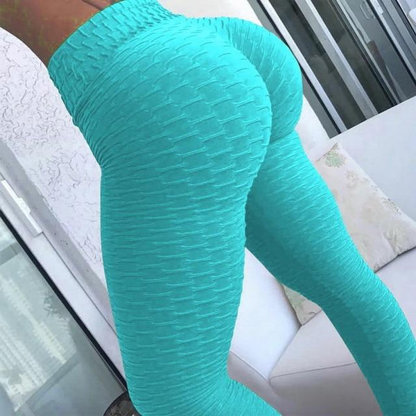Yoga Pants Tummy Control Slimming Booty Leggings Workout Running Butt Lift Tights leggings Turquoise XL Far East