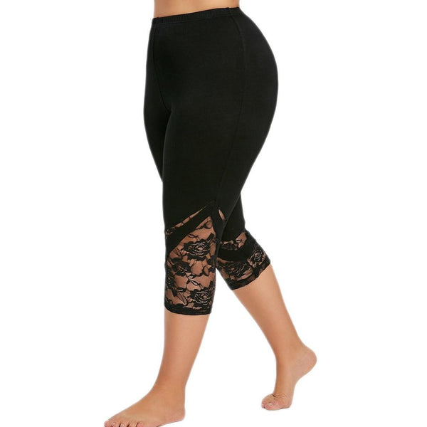 Yoga Sport Lace Leggings Mid Waist Calf-Length leggings