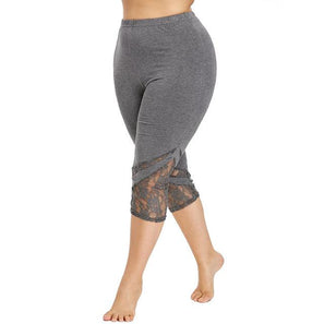 Yoga Sport Lace Leggings Mid Waist Calf-Length leggings Gray 5XL