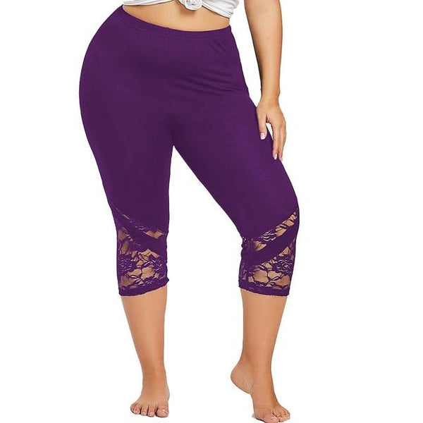 Yoga Sport Lace Leggings Mid Waist Calf-Length leggings PURPLE 5XL