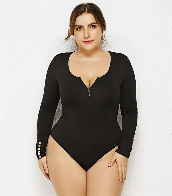 Zipper V-neck Long Sleeve Jumpsuit bodysuits Black XL