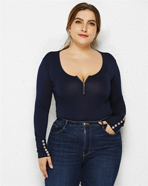 Zipper V-neck Long Sleeve Jumpsuit bodysuits Dark Blue 6XL