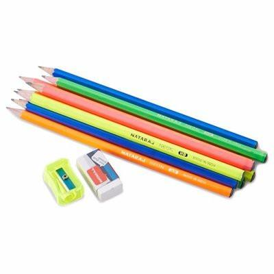 Nataraj Lead Neon HB Pencils + Eraser & Sharpener