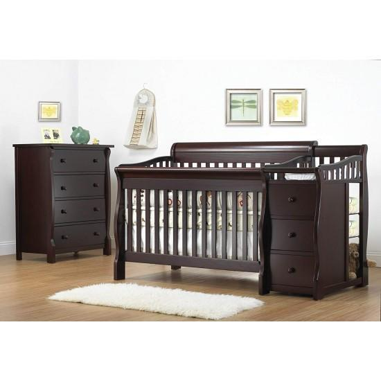 Sorelle Tuscany 4 in 1 Convertible Crib and Changer With Free Mattress n Pillow