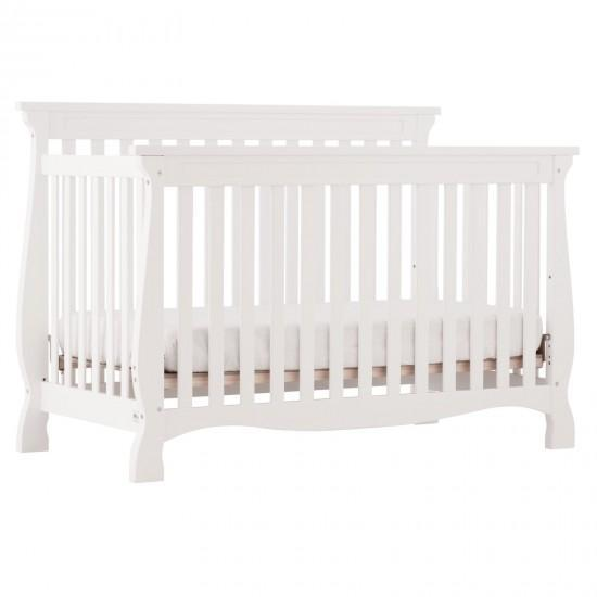 Storkraft Carrara 4 in 1 White Convertible Crib With Free Mattress and Pillow