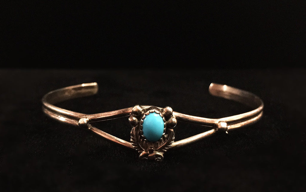 Dainty Silver & Turquoise Cuff