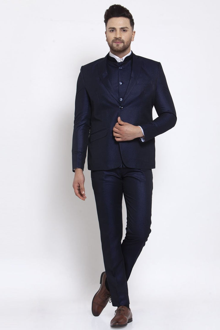 Wintage Men's Poly Blend and Evening 3 Pc Suit : Navy Blue