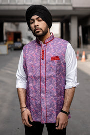 Rayon Fabric Purple Modi Nehru Jacket