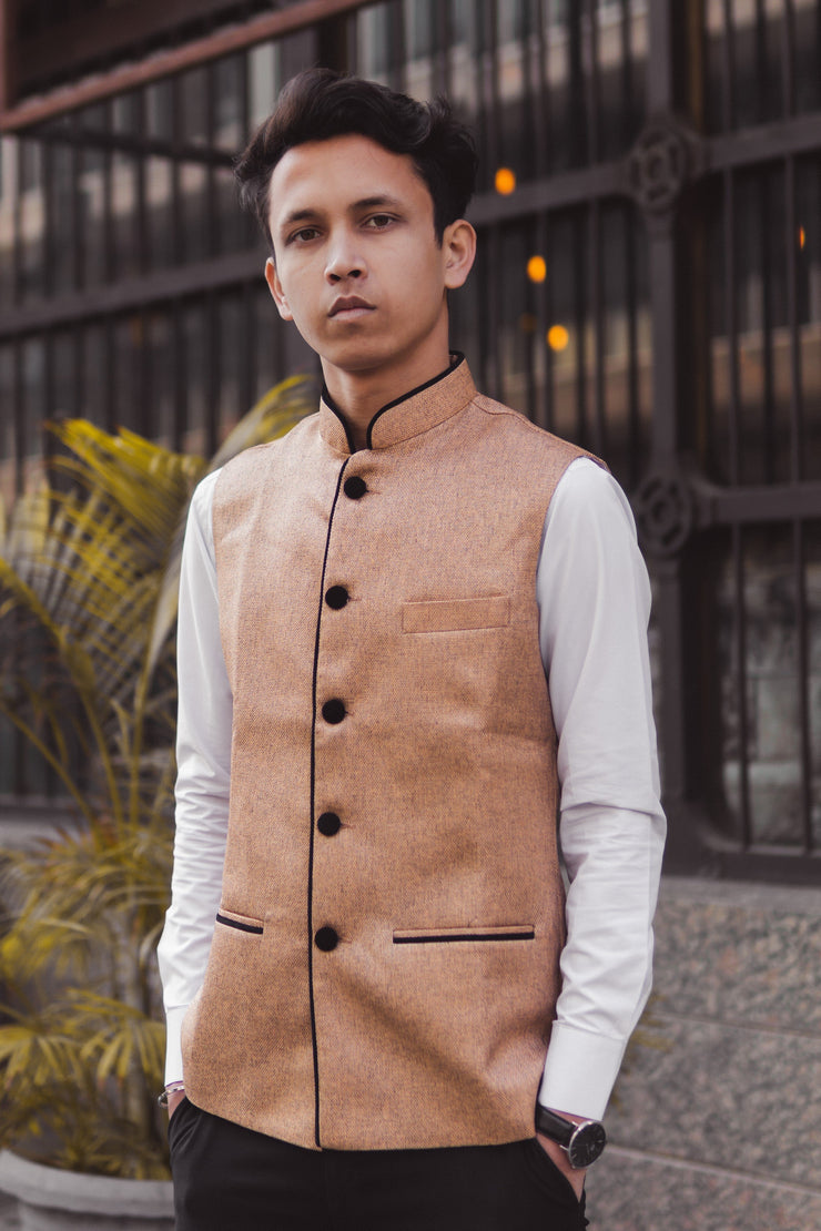Rayon Orange Modi Nehru Jacket