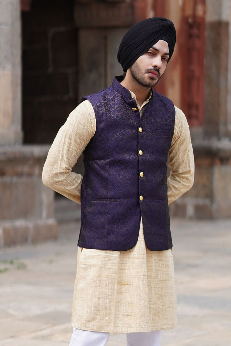 Banarasi Rayon Cotton Black Modi Nehru Jacket