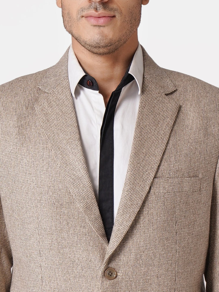WINTAGE Men's Tweed Casual and Festive Blazer Coat Jacket: Beige