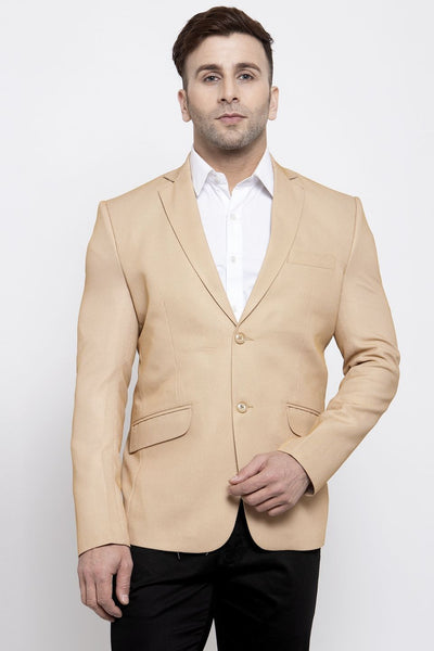 WINTAGE Men's Polyester Cotton Festive and Casual Blazer Coat Jacket : Beige