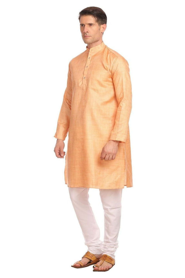 Poly-Cotton Orange Kurta Pyjama