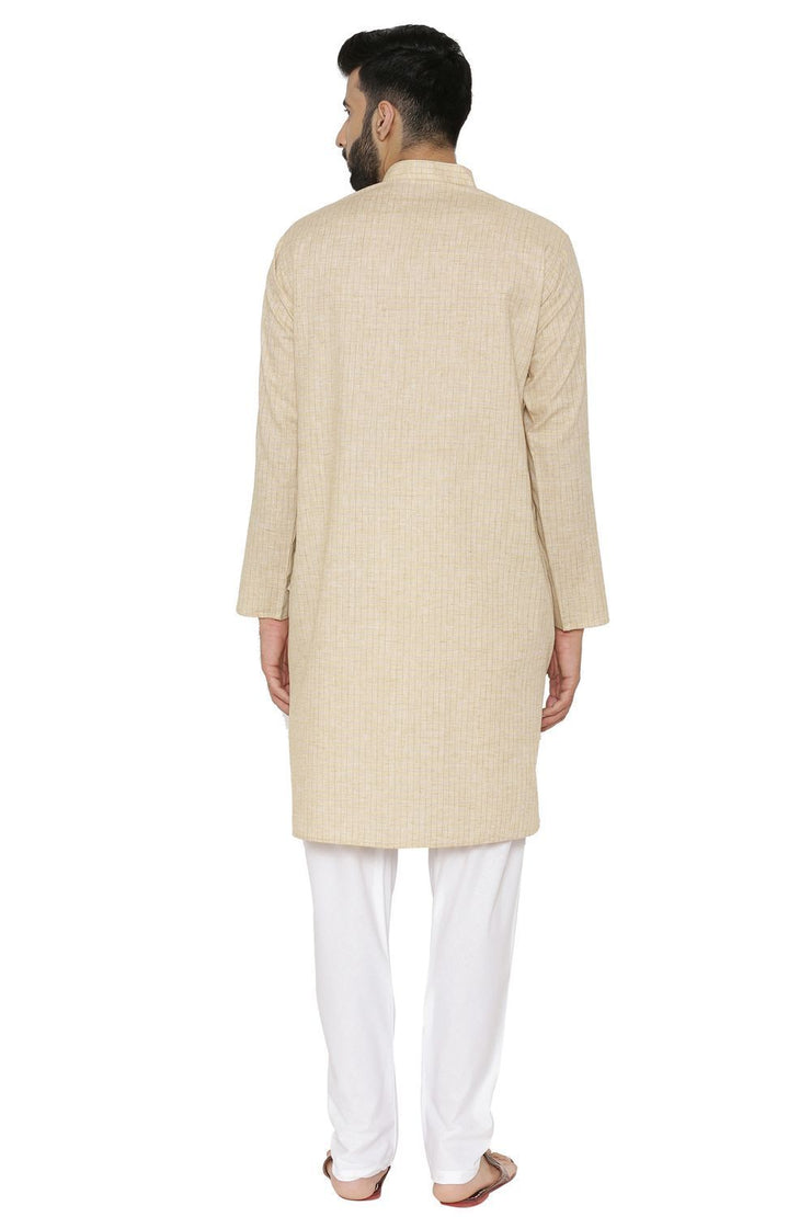Linen Cotton Rich Yellow Kurta Pyjama