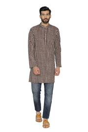 100% Jaipur Cotton Brown Long Indian Kurta