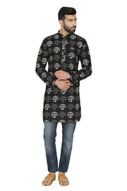 100% Jaipur Cotton Black Long Indian Kurta