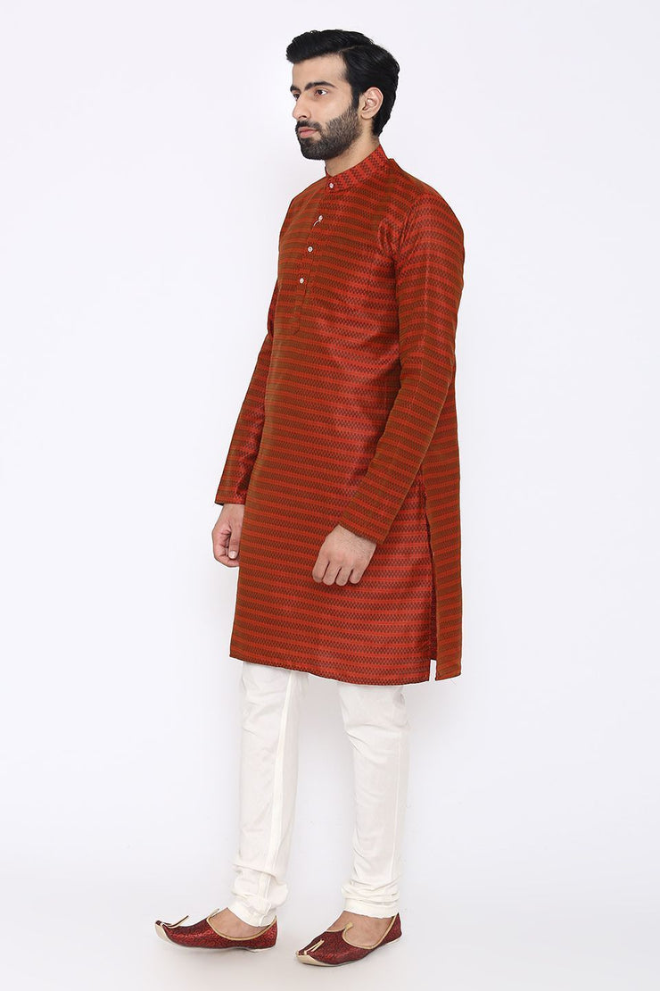 Banarasi Art Silk Cotton Blend Red Long Kurta