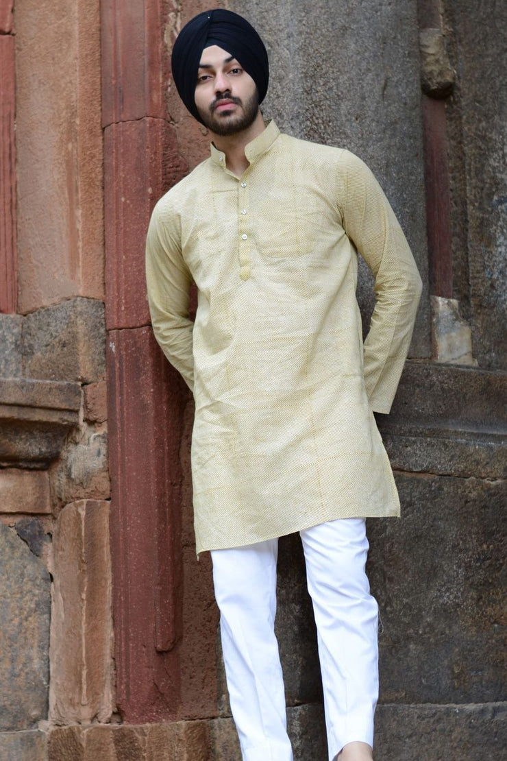 Jaipur 100% Cotton Beige Long Kurta Pajama