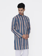 WINTAGE Men's Jaipur Cotton Festive and Casual Long Indian Kurta Sleepset: Light Blue