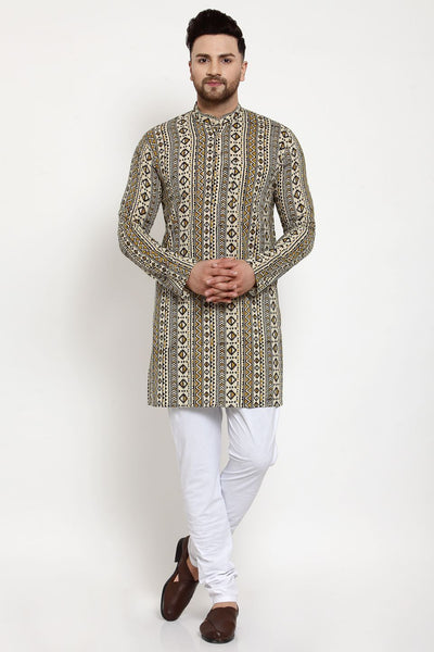 WINTAGE Men's Jaipur Cotton Festive and Casual Long Indian Kurta Sleepset: Brown
