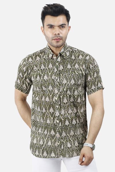 Jaipur 100% Cotton Olive Floral Shirt