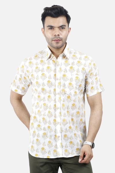 Jaipur 100% Cotton White Floral Shirt