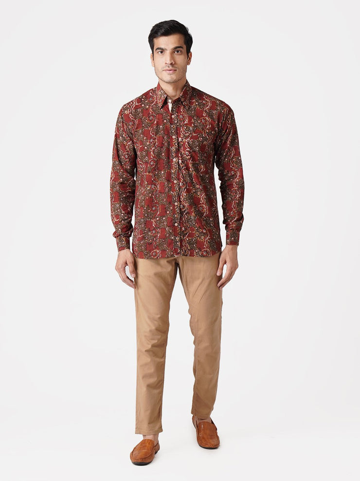Jaipur 100% Cotton Red Floral Full Shirt
