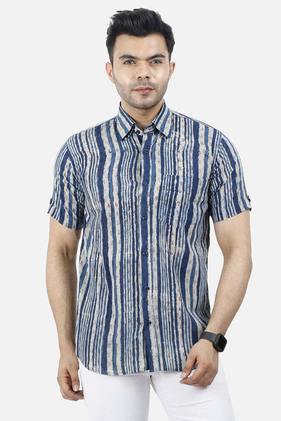 Jaipur 100% Cotton Blue Stripe Shirt
