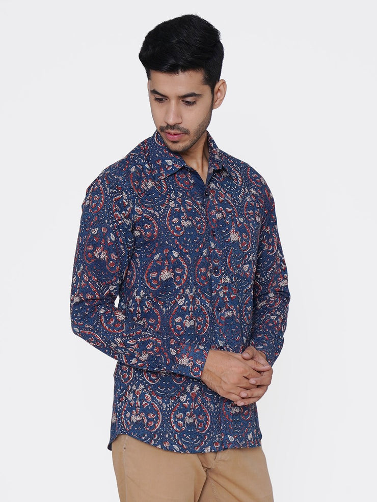 WINTAGE Men's Jaipur Cotton Tropical Hawaiian Batik Casual Shirt: Multicolor