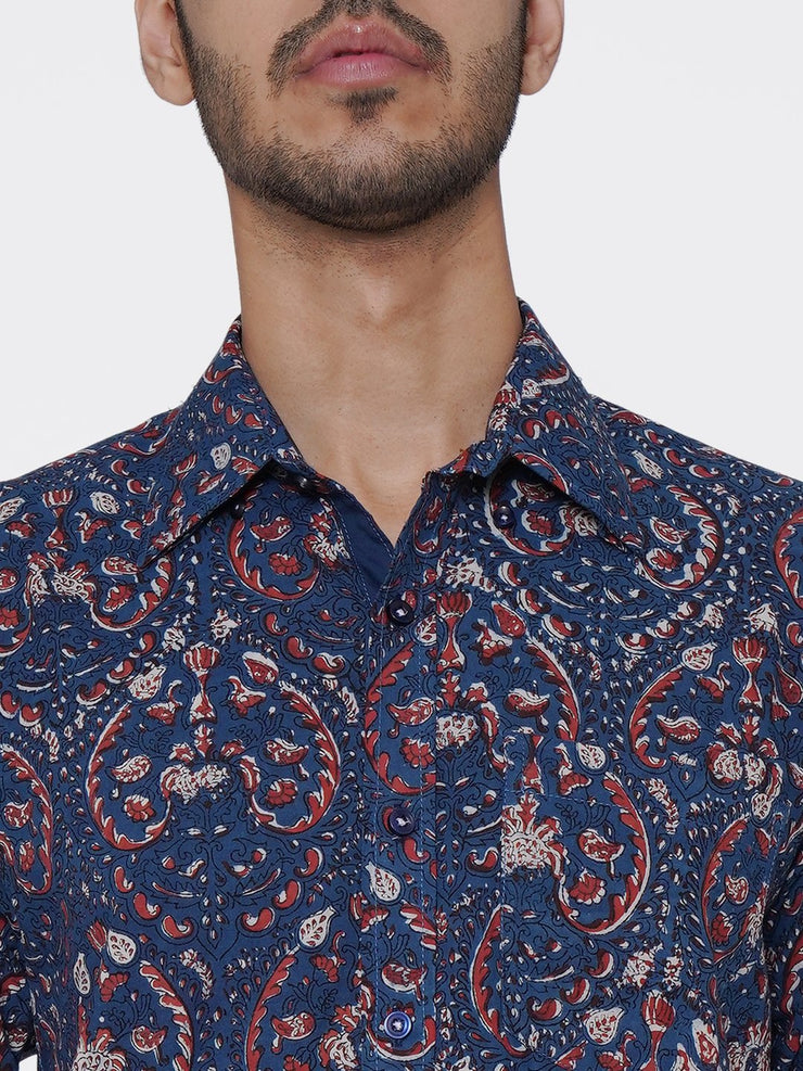 Jaipur 100% Cotton Multicolor Floral Full Shirt