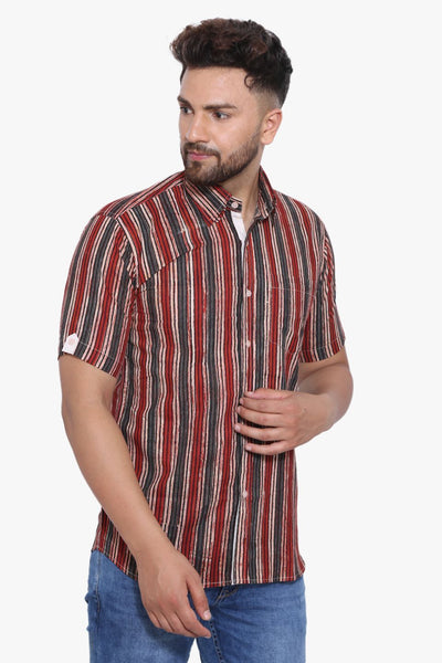 Jaipur 100% Cotton Red Striped Shirt