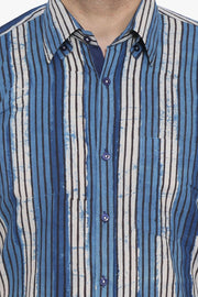 Jaipur 100% Cotton Blue Striped Shirt