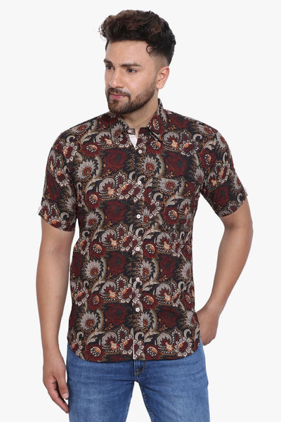 Jaipur 100% Cotton Maroon Floral Shirt
