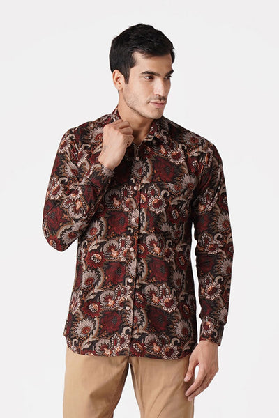 Jaipur 100% Cotton Maroon Floral Full Shirt