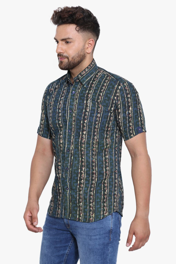 Jaipur 100% Cotton Blue Design Shirt