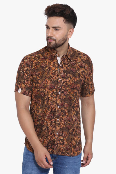 Jaipur 100% Cotton Brown Floral Shirt