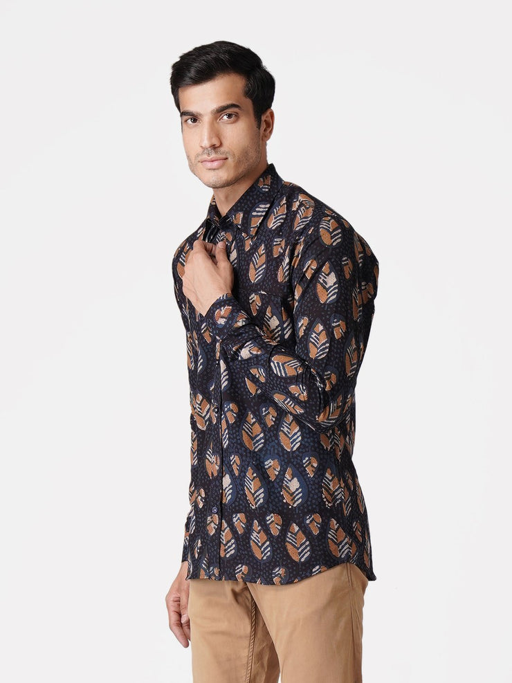 WINTAGE Men's Jaipur Cotton Tropical Hawaiian Batik Casual Shirt: Black