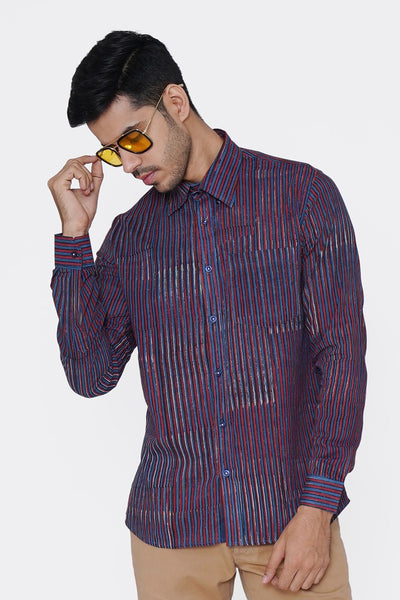 Jaipur 100% Cotton Dark Blue Striped Shirt